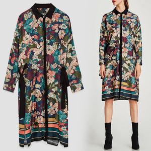 NWT Zara Floral Button Up Floral Shirtdress Size M